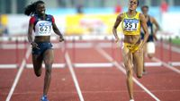 Leach is 2nd in the 400 Hurldes in a near-PR of 55.55. Kaliese Spencer of Jamaica was 1st in 55.11
