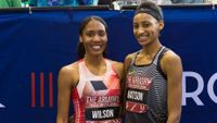 Ajee Wilson and Sammy Watson pose after the Invitational 600m at the Armory Track Invitational. Wilson ran 1:24.48 for the win, which is the fourth-fastest time in history, while high school senior Watson ran 1:27.13 for third place, which shattered her o
