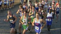 An aerial view of the leaders at the mile marker.