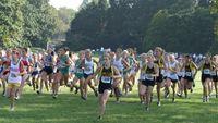Kellam senior Natalie Sherbak establishes an early lead in the girls A varsity race. side).