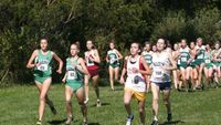 Quickly jumping into the lead are Forest Park sophomore Stefanie Slekis (88) on the left, Forest Park senior Beth Fahey (82) middle and Franklin County freshman Brittany Killough (102) on the right, who would all hold on for the top three finishes.