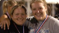 Karen Shump is 5th and Allyn Laughlin 2nd in the Shot Put