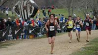 James Monroe senior Tim Young rounds the lake in 7th place