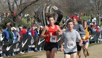 MacPherson seems to be on his Texas state meet 4:41 5K pace, but Bumbalough is looking relaxed as he sticks on him.