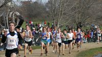 More Virginians -- Bryce Iverson (918) is chased by Andrew Midland and on the right, Devin Cornwall (387).